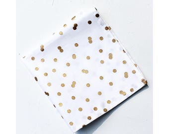 Gold Confetti Dot Napkin Holiday Tabletop Table Linens Christmas Decor White and Gold