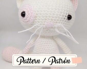 Amigurumi crochet pattern cat plushie, amigurumi patrón ganchillo gato peluche, patron ganchillo, crochet pattern