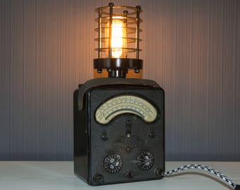 Upcycled Avometer Model 40 - Avometer 40 Lamp - Steampunk Lamp - Edison Lamp - Upcycled Lamp
