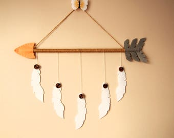 Arrow Feathers Decor, Southwestern Decor, Arrow Baby Mobile, Arrow Decor, Felt Arrow, Nursery Decor, Southwestern Nursery, Felt Mobile, Felt