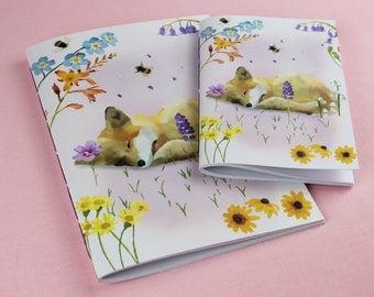 Notebook / Floral Notebook / A5, A6 Notepad / Fox Notebook / Cute Sketchbook / Cute Animal notebook / Handmade notebook / Bridesmaid gift.