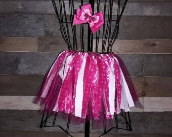 Tulle and Material Pink Tutu with Matching Bow