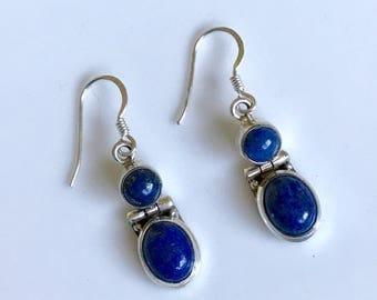sterling silver earrings, lapis earrings, lapis lazuli jewelry,gemstone earrings, sterling silver earrings, sterling silver jewellery,