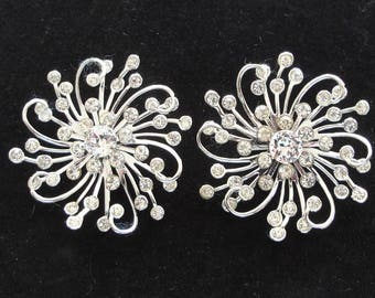 Sarah Coventry Silver Rhinestone Earrings Set--      #29
