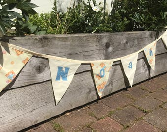 personalised bunting, fabric bunting, double sided bunting, price per flag, yellow bunting, free shipping