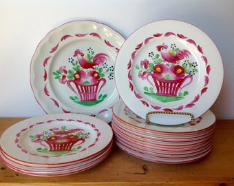"""Antique Luneville Faience 8.25"""" Plates Chanteclerc Red Rooster France 1900 Set of 16"""