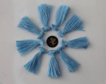 10 sky blue tassel fringe - jewelry - 40 mm.