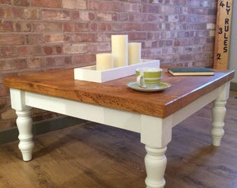 Large Square Handmade Solid Pine Farmhouse Coffee Table