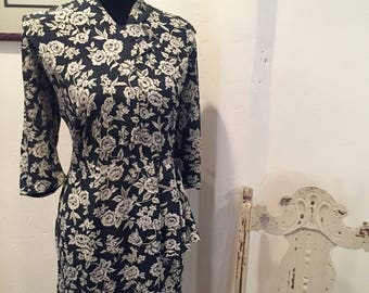 Navy Blue and White 1930's Dress