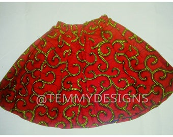 Girl ankara skirt, African print, African clothing, girl clothing, skirt, Red and yellow