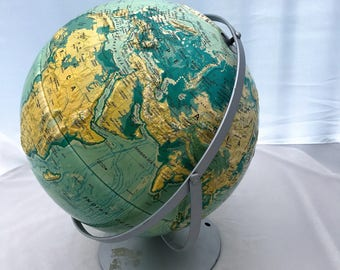 """Vintage Nystrom Sculptural Relief World Globe with Metal Stand, 16"""" diameter (c.1991) - Extra Large School Globe"""