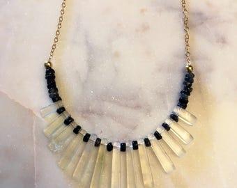 Labradorite, and quartz necklace
