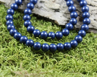 Vintage inspired Navy blue glass Pearl Necklace