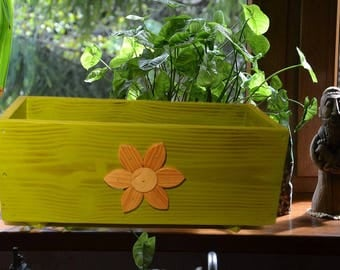 Tray with flowers, wooden, free shipping