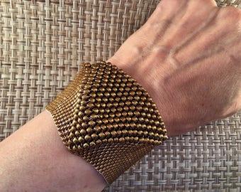 Bronze cuff Miyuki beads
