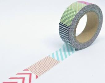 Washi Tape patterns multiple geometric thin multicolor 10Mx15mm