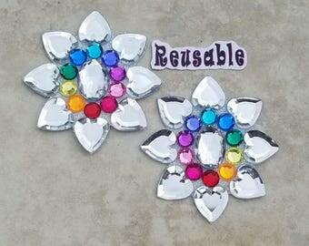 Rave Nipple Pasties Blacklight Festival Pasties Reusable Rainbow Exotic Burlesque Dance Wear Ginas Gem Factory Glow Covers Custom