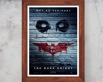 Batman The Dark Knight Movie 2008 Minimalist Movie Print poster Christian Bale , Heath Ledger , Morgan Freeman Matt / Silk/Canvas A4/A3/A2
