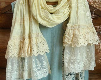 Cotton Boho scarf, Ivory Scarf, Scarf in the style of Boho, Summer scarf, Scarf-tippet