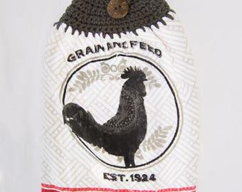 Grain & Feed Rooster Kitchen Towel - Crochet Top
