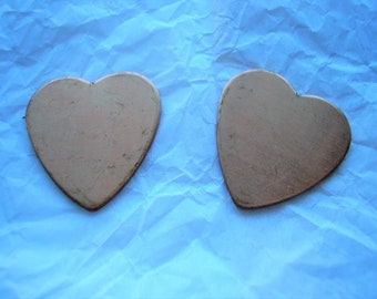 "Copper Hearts, Metal Blanks, 1"" Long Heart, Pack of 2, Copper Shape for Enameling, Copper Enameling Supply, Metal Stamping, Jewelry Making"