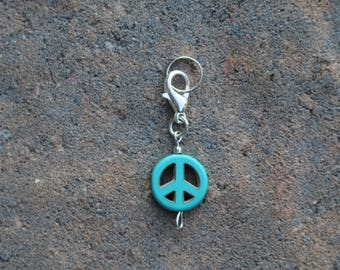 Bridle Charm - Turquoise Peace Sign Pendant