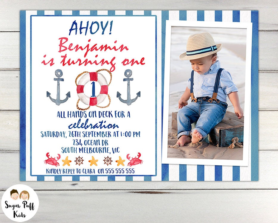Boys Watercolor Nautical 1st Birthday Party Invition Boys Nautical