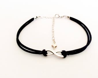 Infinity anklet/ black ankle jewellery/ infinity ankle bracelet/ boho anklet/ beach jewellery/cord anklet/foot jewellery/friendship gift