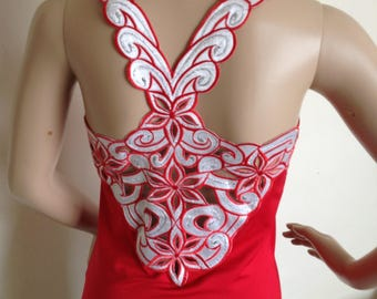 Red top with embroidered back in small size