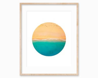 Aerial Beach Poster, Coastal Wall Art, Ocean Print, Beach Photo, Beach Art Print, Minimal Geometric Print, Summer Art Print