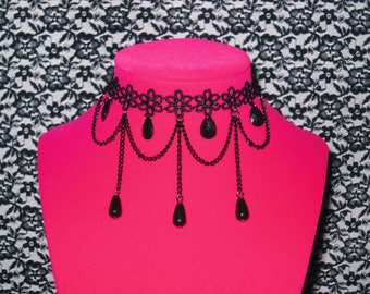 Black Dramatic Chain Black Beads Black Charms Black Teardrops Faux Crystals Black Choker Knit Floral Necklace