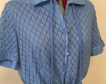Vintage 1980s 'O-Batel' Blue knitted  tea dress.