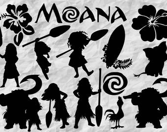 14 Moana Silhouettes | Moana SVG cut files | Moana printable | Moana cut file | digital files | vectors | vinyldesign | wallprint