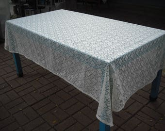 Off White Lace Rectangular Tablecloth, Shabby Chic Tablecloth, Cottage Chic Tablecloth