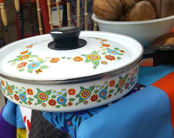 Vintage 1960's Frying Pan with Lid, Flowers Hippy Print
