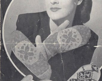 Vintage knitting pattern 1940s Fair Isle mitts Weldons A8131