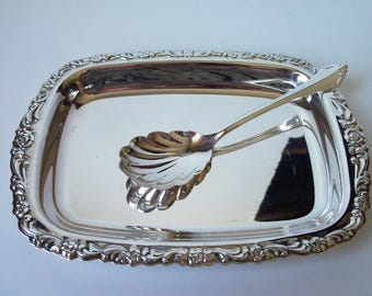 Vintage Oneida silver plated small tray and spoon (#EV144)