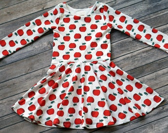Apple Dress. Back to School Dress. Fall Dress. Baby Dress. Toddler Dress. Little Girl Dress. Twirl Dress. Twirly Dress. Play Dress.