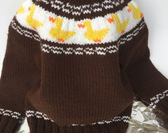 Hand Knit Sweater Boys Age 2-4 Brown with Yellow Ducks