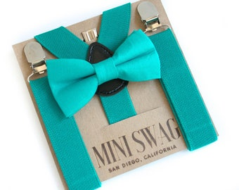 2nd Birthday Outfit, Teal Toddler Suspenders, Teal Boys Bow Tie, Infant Bow Tie Set, Stylish Suspenders, Boys Bow Tie and Suspenders Set