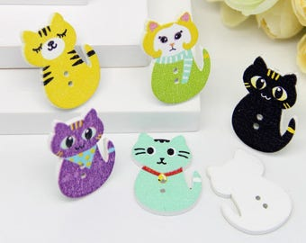 10 wooden cat buttons for crafting, card making projects, two hole, sweet animal buttons