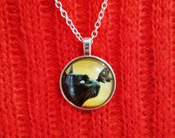 Black cat necklace, cat lover gift, cat necklace, cat pendant, black cat pendant, silver necklace, cat present, animal lovers gift, cat gift