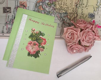Happy birthday greeting card, embellished card, green card, floral card, glitter card