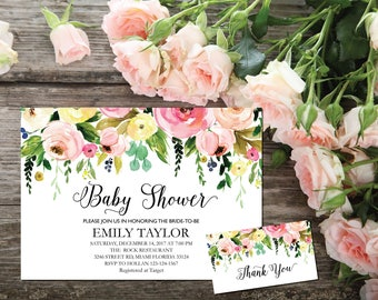 Baby Shower Invitation, It's a Girl Shower Invite, Bridal Shower Card, Floral Baby Shower, Boho Girl Baby Invite, Instant Download ABB06