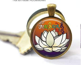 White LOTUS FLOWER Key Ring • Nepalese Lotus • Hindu Peace Flower • Buddhist Peace Flower • Gift Under 20 • Made in Australia (K381)