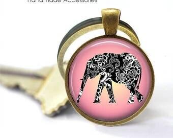 BOHO ELEPHANT Key Ring • Pink Elephant • Paisley Elephant • Asian Elephant • Buddhist Elephant • Gift Under 20 • Made in Australia (K414)
