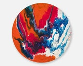 Round painting, original abstract painting on canvas, original painting, small painting, Abstract Wall Art, fluid painting