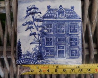 Vintage KLM Delft Blue Coaster #7 House of Notary Public