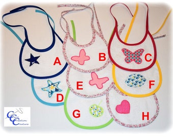 Set of 3 bibs to tie round baby infant Terry choice