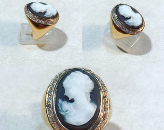 Cameo ring in gold-plated Silver 925